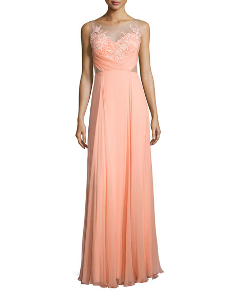 Marchesa Notte Sleeveless Floral Applique Flowy Gown
