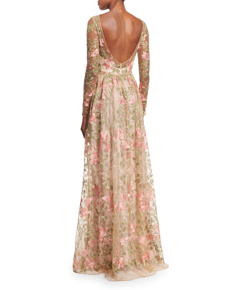 Marchesa Notte Gold-tone Embroidery Long Dress Ivory Women Clothing Evening  Dresses,UK Factory ...