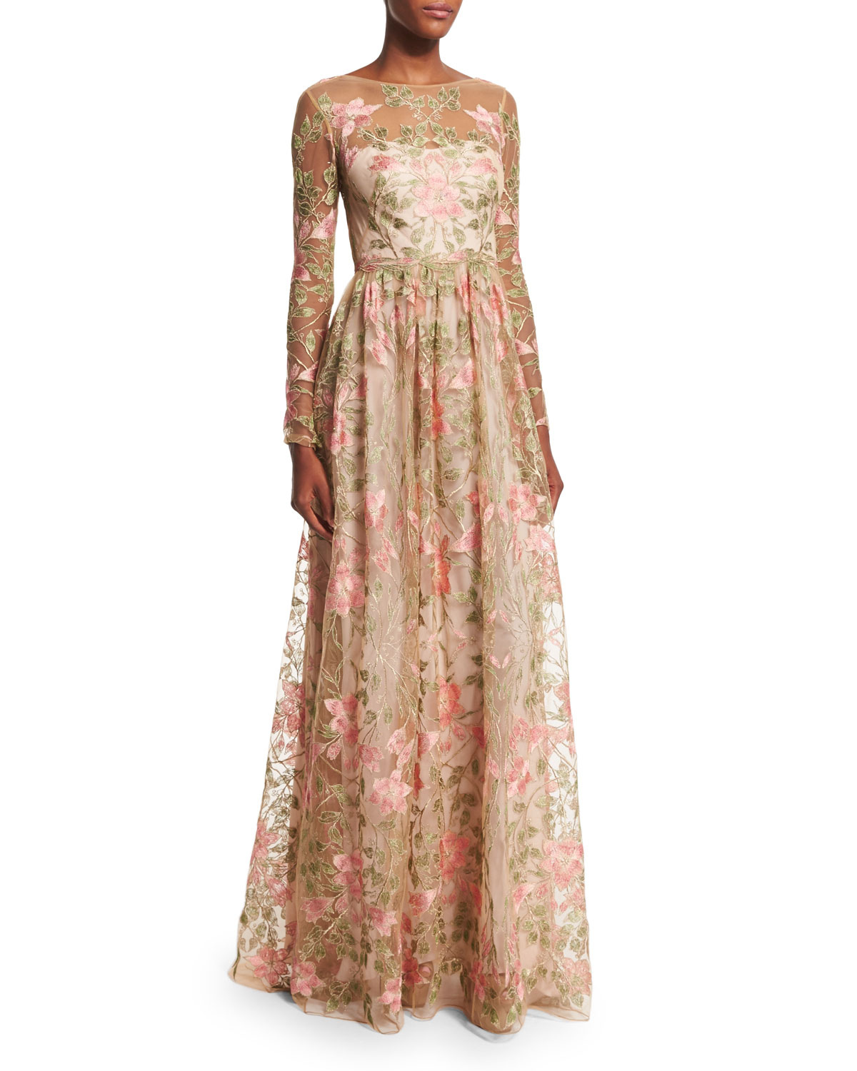 Marchesa Notte Long-Sleeve Floral-Embroidered Gown | Neiman Marcus
