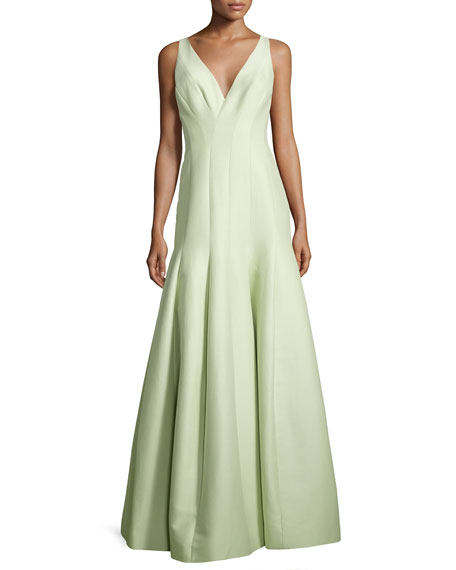 Halston Heritage Sleeveless V-Neck Structured Gown, Pistachio