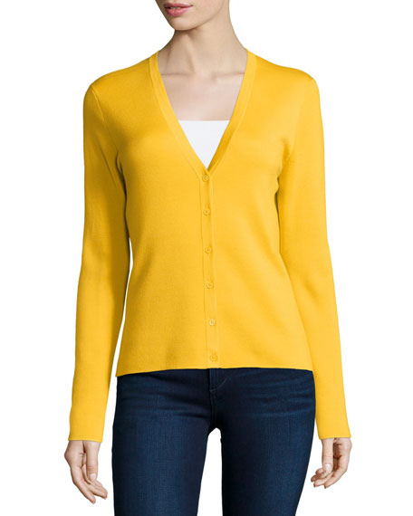 Michael Kors Collection Button-Front Cashmere Cardigan, Daffodil