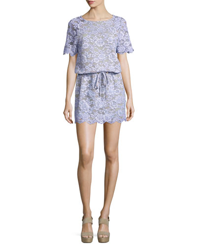 Amal Lace Mini Dress, Lilac
