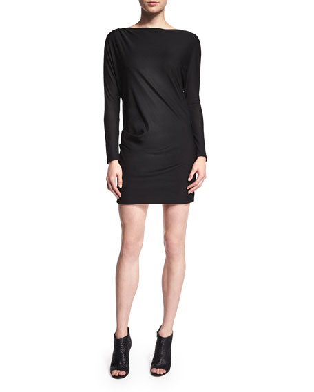 Long-Sleeve Bateau-Neck Sheath Dress, Black