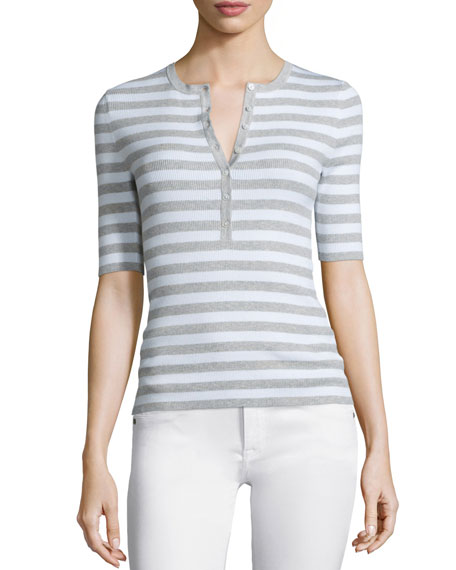 Michael Kors Collection Elbow-Sleeve Striped Henley Top, Pearl Melange