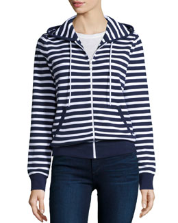 Long-Sleeve Striped Hoodie, Indigo/White