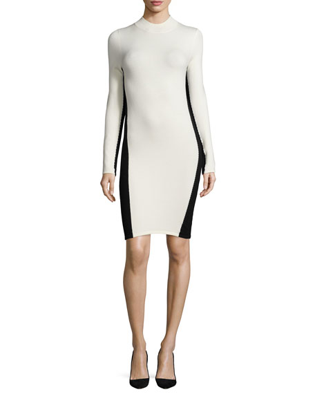 Halston Heritage Long-Sleeve Turtleneck Colorblock Dress