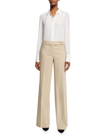 Michael Kors Collection Bianca Wide-Leg Pants, Khaki