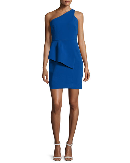 Halston Heritage One-Shoulder Peplum Dress, Cobalt