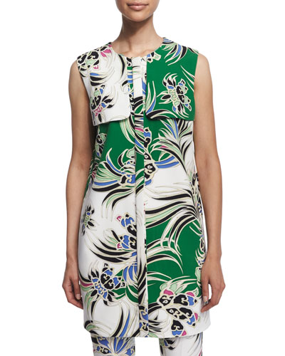 Love Kimono Printed Shift Dress, Green