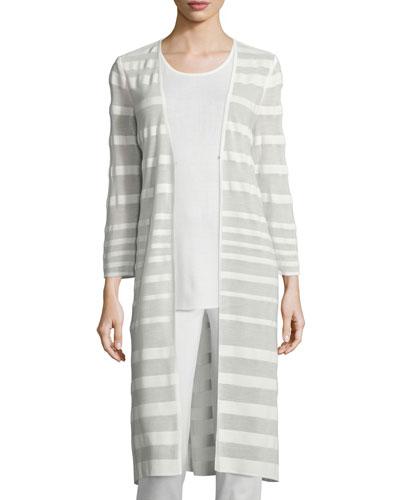 Long-Sleeve Sheer-Striped Long Duster Coat