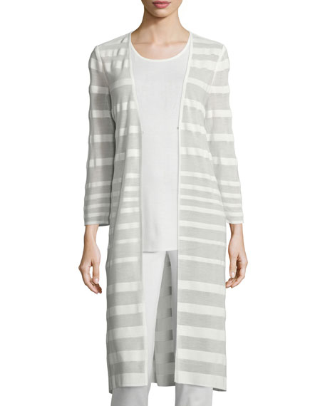 Misook Long-Sleeve Sheer-Striped Long Duster Coat, Plus Size
