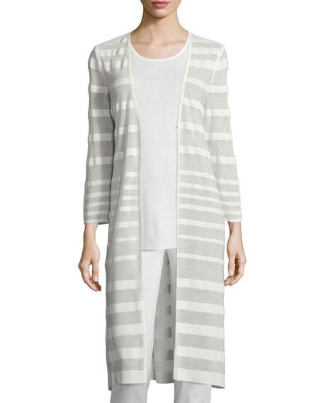 Misook Long-Sleeve Sheer-Striped Long Duster Coat, Sleeveless