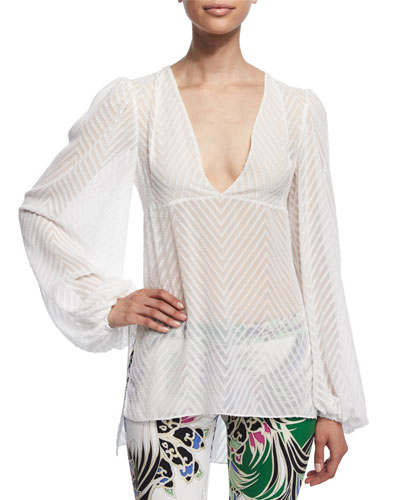 Long-Sleeve Zigzag Top, Off White