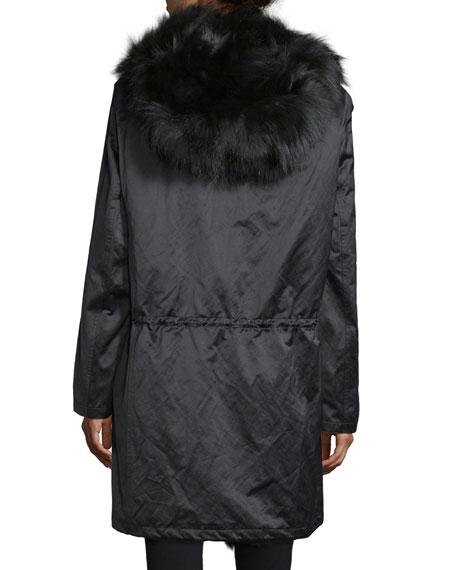 Button-Front Anorak Jacket W/Fur Hood, Black