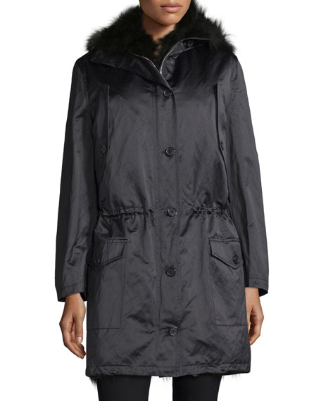 Michael Kors Button-Front Anorak Jacket W/Fur Hood, Black