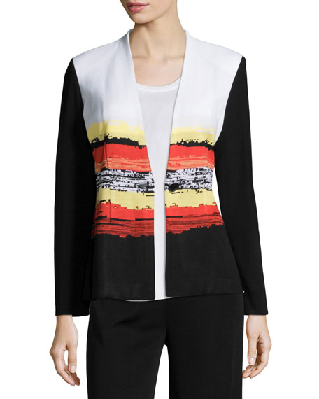 Misook Graphic Sunset One-Button Jacket, Multi, Plus Size