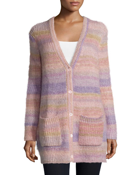 Michael Kors Collection Long-Sleeve Striped Shaker Cardigan,