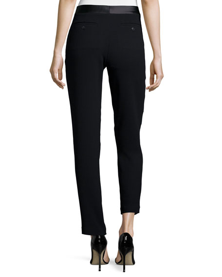 Pleated-Front Slim-Leg Pants, Black