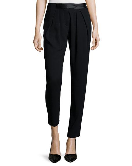 Halston Heritage Pleated-Front Slim-Leg Pants, Black