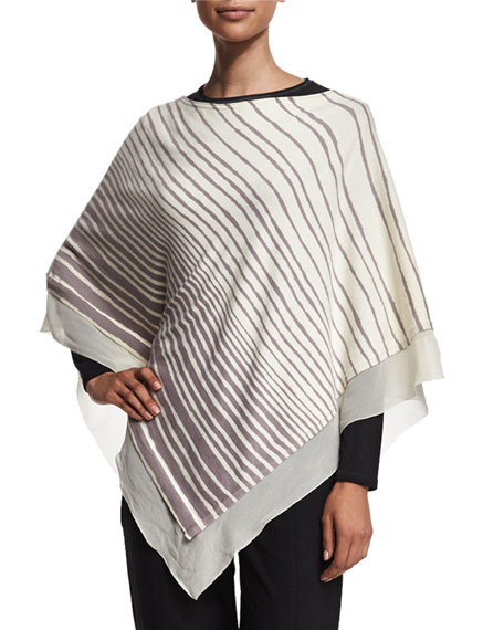 Halston Heritage Striped Off-the-Shoulder Poncho