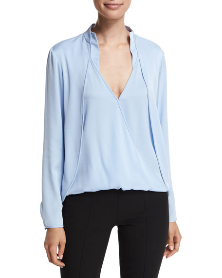 Halston Heritage Long-Sleeve Draped Top with Overlay