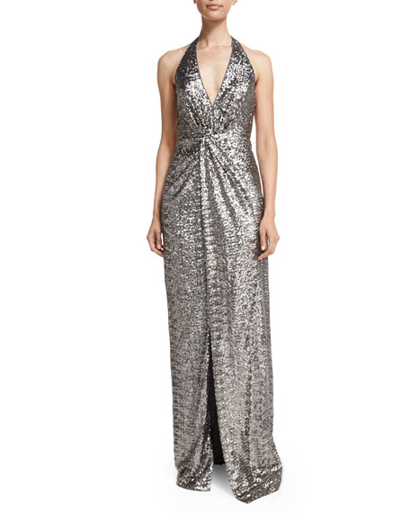 Halston Heritage Sequined Halter Gown with Front Slit