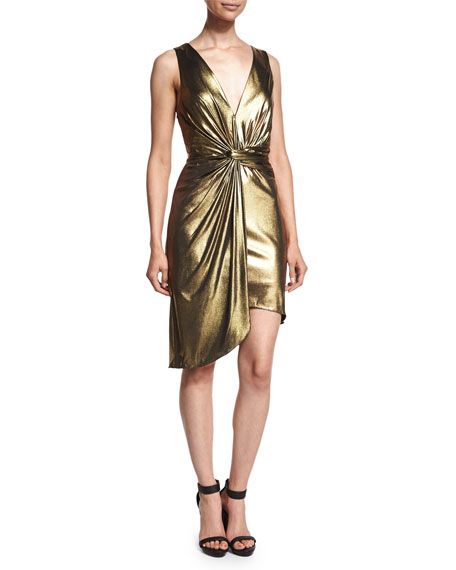 Halston Heritage Sleeveless Twist-Front Metallic Dress, Yellow Gold