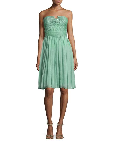 Halston Heritage Strapless Chiffon Dress, Meadow