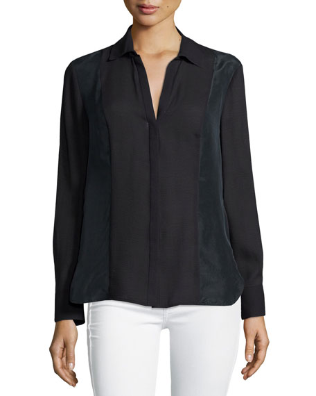 Halston Heritage Long-Sleeve Slim-Fit Shirt, Black