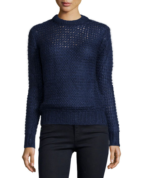 Michael Kors Collection Long-Sleeve Hand-Knit Sweater, Indigo