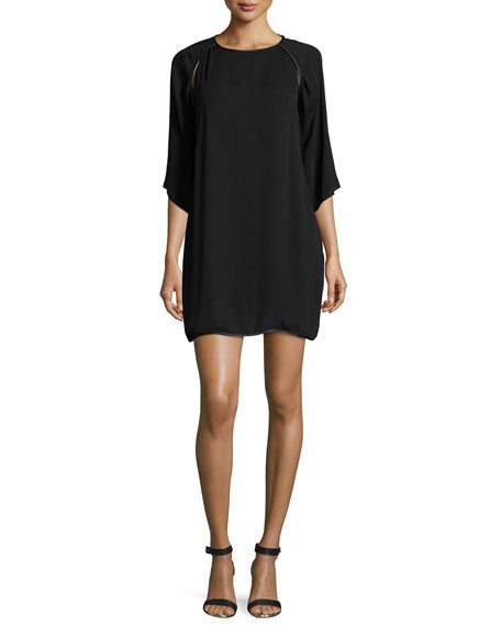 Halston Heritage Kimono-Sleeve Shift Dress, Black