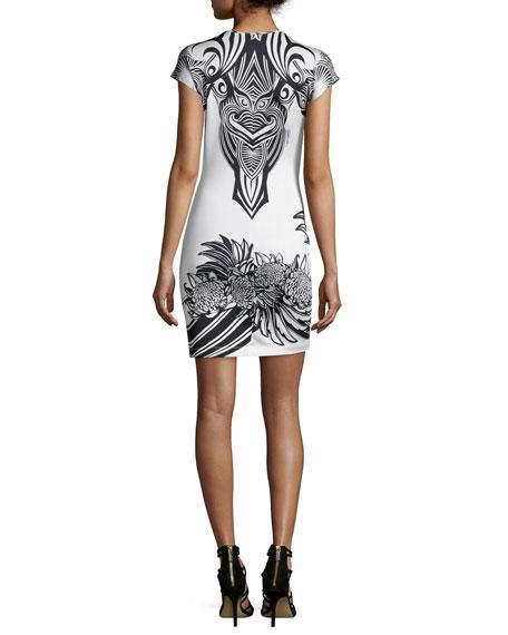Short-Sleeve Harajuku Print Sheath Dress, Off White
