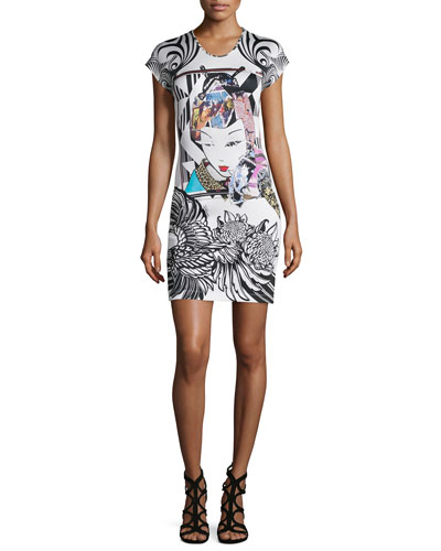 Short-Sleeve Harajuku Print Sheath Dress, Off White