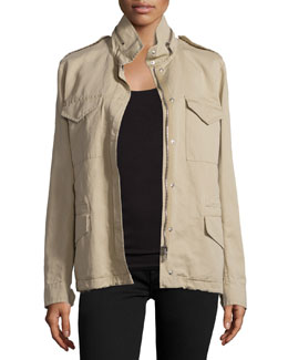 Fur-Lined Safari Jacket, Sand