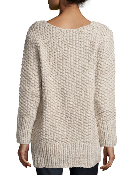 Long-Sleeve Textured Sweater, Oatmeal Melange