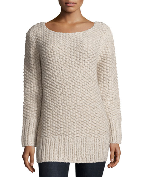 Michael Kors Long-Sleeve Textured Sweater, Oatmeal Melange