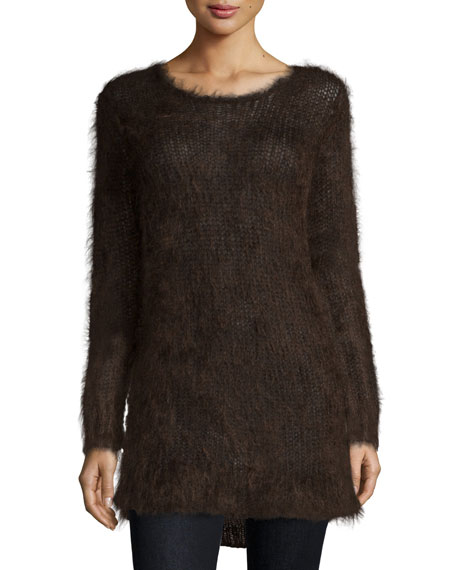 Michael Kors Collection Long-Sleeve Round-Neck Sweater, Chocolate