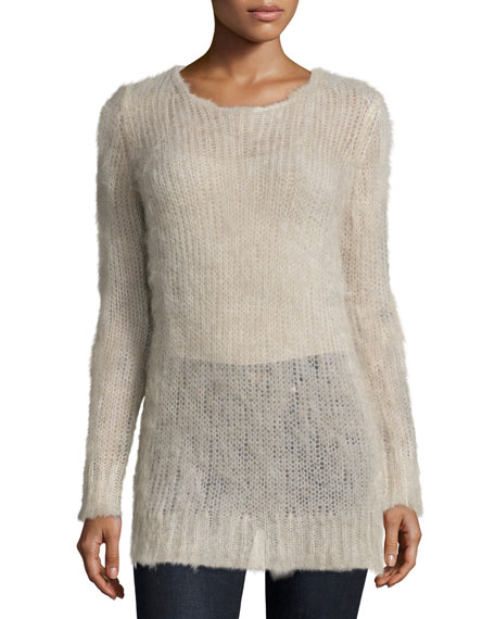 Michael Kors Collection Long-Sleeve Slim-Fit Sweater, Oatmeal