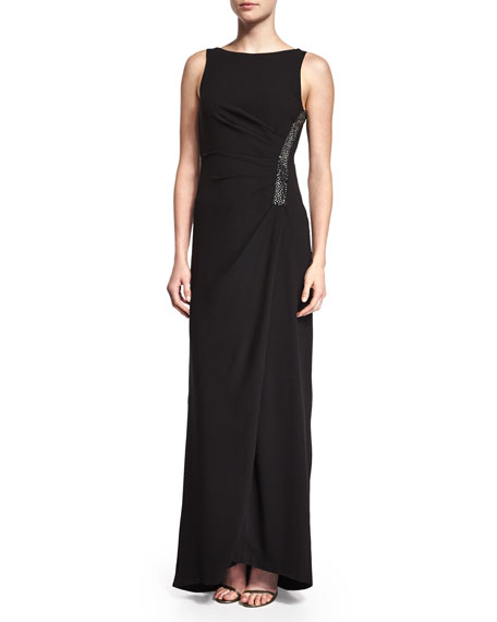 Halston Heritage Ruched Sleeveless Gown w/ Rhinestones, Black