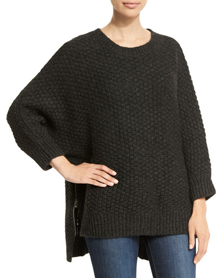 Michael Kors Collection 3/4-Sleeve Basketweave Sweater, Charcoal Melange