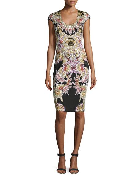 Fairy Mermaid-Print Sheath Dress