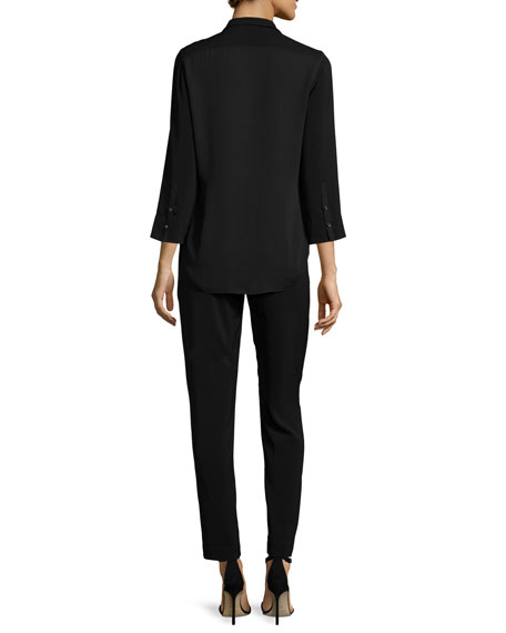 Long-Sleeve Slim-Leg Jumpsuit, Black
