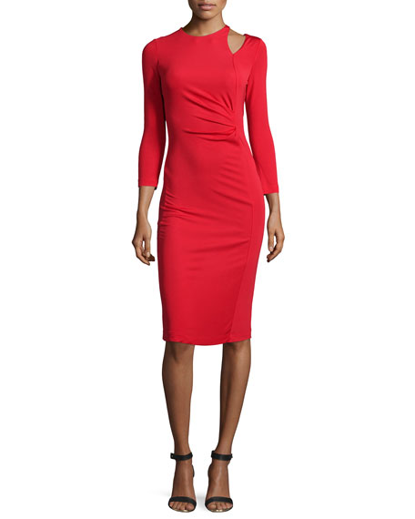 Just Cavalli Long-Sleeve Ruched Sheath Dress