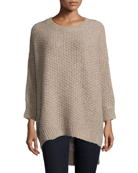 Michael Kors Long-Sleeve Basket-Weave Sweater, Bison Melange