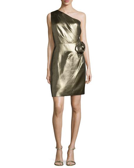 Halston Heritage One-Shoulder Metallic Dress, Gold