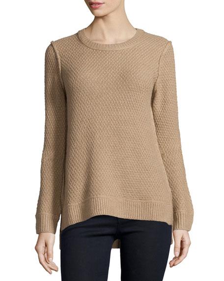 Michael Kors Collection Long-Sleeve Split-Hem Sweater, Fawn