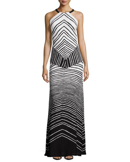 Halston Heritage Halter-Neck Striped Maxi Dress, Black/Bone