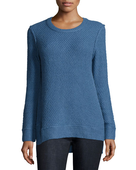 Michael Kors Collection Long-Sleeve Split-Hem Sweater, Chambray