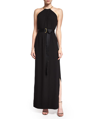 Halston Heritage Sleeveless Shirred-Neck Belted Gown, Black