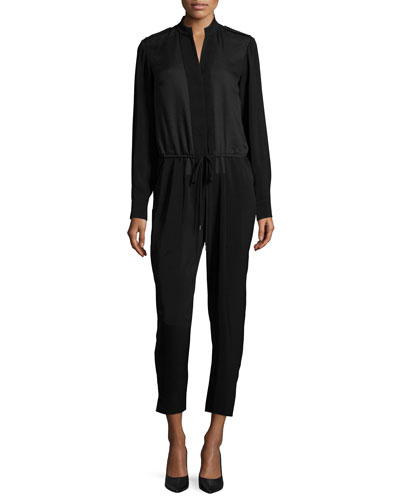 Halston Heritage Long-Sleeve Drawstring-Waist Jumpsuit. Black